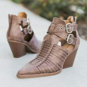 Shoes - ALEX point toe ankle booties - DARK TAUPE